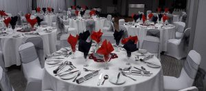 Function Room Dressed in Black and Red